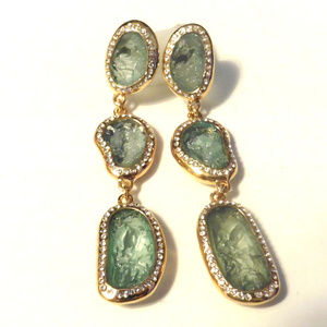 Kara Ross Blue/Green Drop Goldtone Earrings